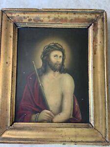 Antique Religious Painting Tin Gilt Framed German