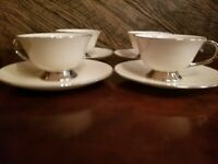 FLINTRIDGE china DELROSE Set of 4 Cups & Saucers Silver Rims & Silver Footed