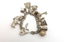 A Great Heavy Vintage Sterling Silver 925 Charm Bracelet x14 Charms 54g #21763