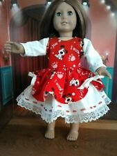 "Valentine Party Dress Fits American Girl 18 inch Doll clothes ""I Woof You"""