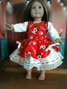 """Valentine Party Dress Fits American Girl 18 inch Doll clothes """"I Woof You"""""""
