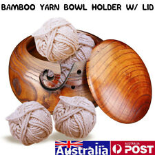 Wooden Yarn Storage Bowl Holder Cover Skeins Knitting Crochet Thread Box AU/