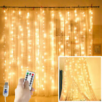 300 LEDs Fairy Hanging String Curtain Lights Christmas Wedding Party Home Decor