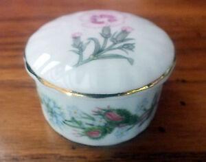 Aynsley WILD TUDOR Fine bone china small round Trinket box flowers collectable