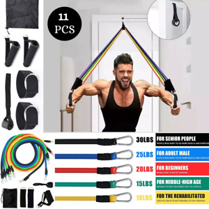 11 PCS Resistance Bands Set Pull Rope Home Gym Equipment Yoga Fitness Exercise.