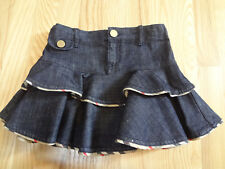 BURBERRY Girl's Denim Tiered Ruffle Skirt with Nova Check Print Piping BNWOT