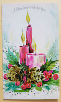 VINTAGE CHRISTMAS CARD USED PINK CANDLES PINE CONES  CENTERPIECE MOD  SHARP!