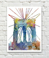 "Brookyn Bridge Abstract Watercolor 11"" x 14"" Art Print by Artist DJ Rogers"