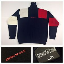 Vintage Emporio Armani Mens Cable Knit Turtleneck Pullover Wool Sweater Large XL