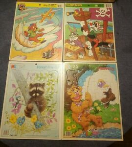 Lot of 4 Vintage Childrens Wooden /cardboard Puzzles Disney/MB /GOLDEN