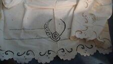 #1/8/14 Antique Pillow Sham 33'' w x 84'' L w Cut Open Embroidered