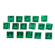 4.80 cts SQUARE CUT COLOMBIAN GREEN EMERALD LOT OF 16 Pcs BIRON LAB CREATED GEM