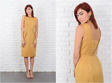 Vintage 60s Gold Cocktail Party Dress Pleated Sleeveless Glam XS