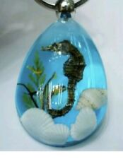 "Seahorse & Seashells Sea Horse Clear Ocean Resin Charm Tibetan 18"" Necklace"