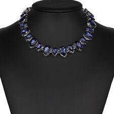 Strass blau Tropfen Glamour Design Kette Halskette Collier Silber plattiert neu
