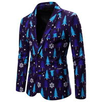 Men's Fashion Christmas Printed Suit Coat Trench Coat Jacket Long Sleeve Coat