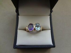 LOVELY 14K YG OVAL AMETHYST & AQUAMARINE RING WITH DIAMONDS