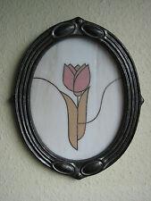 Jugendstil Wandbild Tulpe, oval aus Keramik mit bemalter Permuttglasfüllung