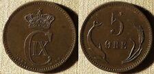 Denmark :1882(h)CS 5 Ore AU Some Tiny Rim Dings Obv,Rim Dings  #794.1     IR7006