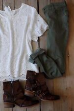 Large Eyelet Scalloped Lace JOHNNY GYPSY TOP Tee Comfort Mur Sea Explosion