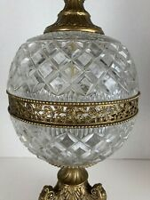 VINTAGE Large Ornate Genuine Lead Crystal & Brass Table Lamp - Made in Germany