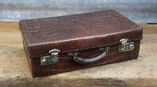 Stunning Antique Thick Crocodile Skin Attache Briefcase