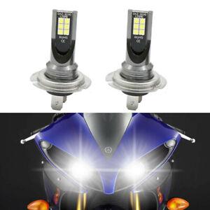 2X Super Bright White H7 LED Bulbs Headlight Kit For Yamaha YZF R1 R3 2007-2018
