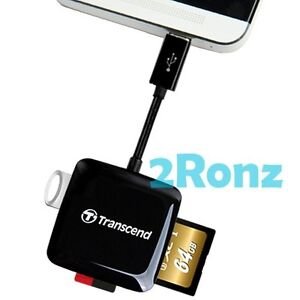 Transcend RDP9 OTG USB Card Reader Micro SDXC SDHC SD TF UHS-I U1 Mobile Android