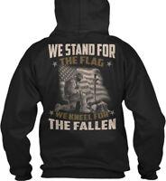 Veteran , We Stand For The Flag - Kneel Fallen Gildan Hoodie Sweatshirt
