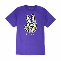 Neff Mens T-Shirt Purple Size Large L Smiley Peace Sign Crewneck Graphic Tee 008