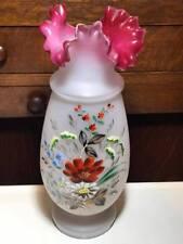 Antique Hand Blown Hand Painted Bohemian Cranberry Crimped Edge Glass Vase