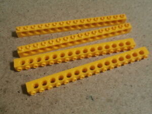 Lego City 4 x Bright Light Orange Technic, Brick 1 x 16 with Holes NEW