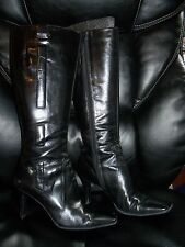 Nine West Neola Black Leather Boots Knee High Modern Style Sexy 6M EUC