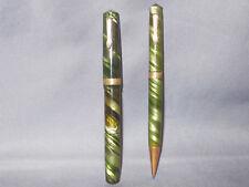 Eversharp Bantam Green swirl Bulb Filler Fountain Pen & Pencil Set