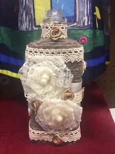 Handmade Shabby Chic Neutral Altered Bottle Vase