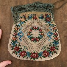 Vtg Beaded Purse, Project Piece, 1930s Bag with Condition Issues, Leather Lined
