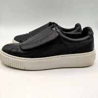 Puma Basket Platform Big Strap Sneaker Shoe 8 Women's Black Leather