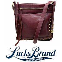 Lucky Brand Dixie Studded Crossbody Burgundy Leather Tassel Shoulder Bag Purse