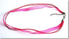 Cordon multirangs coton organza couleur fushia creation bijou loisir créatif