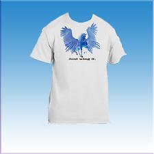 Mythical Magic Fantasy Winged Unicorn Horse Blue Pegasus Just Wing It T-shirt