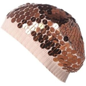 Lisbeth Dahl RRP £22 Pink & Brown Sequin Women's Beanie Hat Free UK Shipping NEW