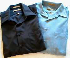 Men's LOT OF 2 MILANO UOMO Long Sleeve DRESS SHIRTS 16 1/2 32/33 Black, Blue EUC