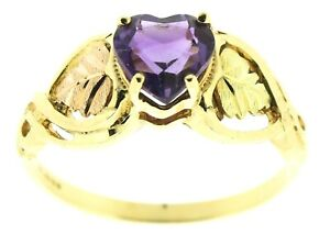 Ladies 9ct yellow gold solitaire ring heart amethyst size P 1/2 green pink gold