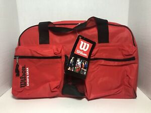 "NEW Official Wilson Tags On Red Tour Club Duffel Sport Gym Bag 18"" X 11"" X 8"""