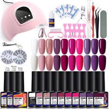 27PCS LEMOOC 8ml Nail UV Gel Kit Soak Off 54W UV LED Dryer Tool Nails Art Set
