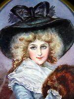 Aquarelle Ecole Française miniature portrait Dame qualité XIX Cadre Napoleon III