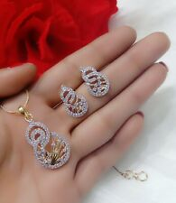 American Diamond Studded Charming Pendant & Earrings Set For Women & Girl's Gift