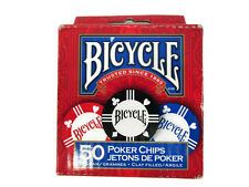 Bicycle Poker Chips Box of 50 Clay Filled 8 Gram 25 Blue 15 Red 10 Black Nib