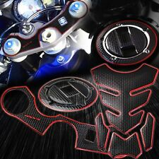 Handle Yoke+Fuel Cap Cover+Tank Pad Kit 06-17 GSXR 600/750 Perforated/Chrome Red