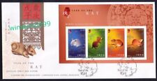Hong Kong 2008 Zodiac Lunar New Year of the Rat, Miniature Sheet Stamps on FDC